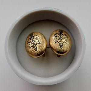 Antique Victorian Gold Filled Enamel Earrings